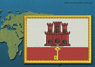 This Flag of Gibraltar Rectangle with a Gold border design was digitized and embroidered by www.embroidery.design.