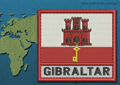 This Flag of Gibraltar Text with a Colour Coded border design was digitized and embroidered by www.embroidery.design.