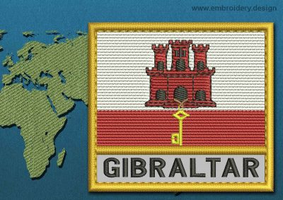 This Flag of Gibraltar Text with a Gold border design was digitized and embroidered by www.embroidery.design.