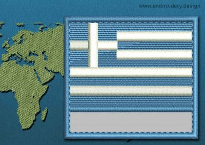 This Flag of Greece Customizable Text  with a Colour Coded border design was digitized and embroidered by www.embroidery.design.