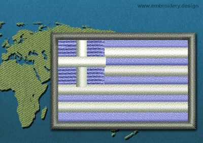 This Flag of Greece Mini with a Colour Coded border design was digitized and embroidered by www.embroidery.design.