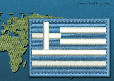 This Flag of Greece Rectangle with a Colour Coded border design was digitized and embroidered by www.embroidery.design.