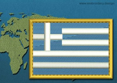 This Flag of Greece Rectangle with a Gold border design was digitized and embroidered by www.embroidery.design.
