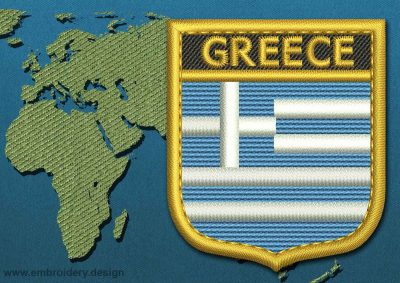 This Flag of Greece Shield with a Gold border design was digitized and embroidered by www.embroidery.design.