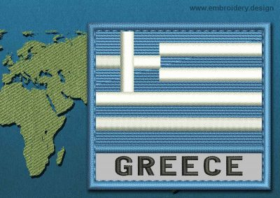 This Flag of Greece Text with a Colour Coded border design was digitized and embroidered by www.embroidery.design.