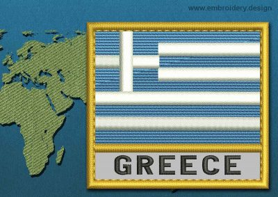 This Flag of Greece Text with a Gold border design was digitized and embroidered by www.embroidery.design.