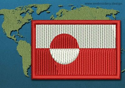 This Flag of Greenland Mini with a Colour Coded border design was digitized and embroidered by www.embroidery.design.