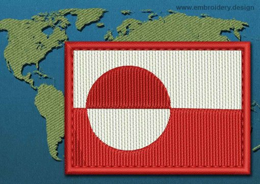 This Flag of Greenland Rectangle with a Colour Coded border design was digitized and embroidered by www.embroidery.design.