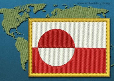This Flag of Greenland Rectangle with a Gold border design was digitized and embroidered by www.embroidery.design.