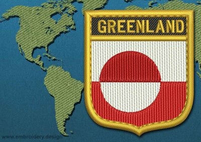 This Flag of Greenland Shield with a Gold border design was digitized and embroidered by www.embroidery.design.