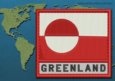 This Flag of Greenland Text with a Colour Coded border design was digitized and embroidered by www.embroidery.design.