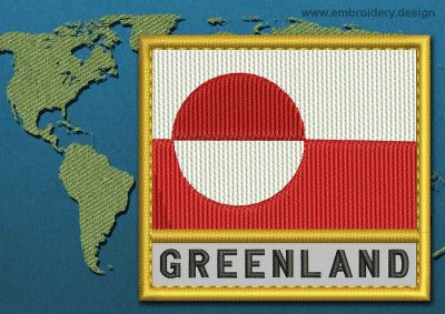 This Flag of Greenland Text with a Gold border design was digitized and embroidered by www.embroidery.design.