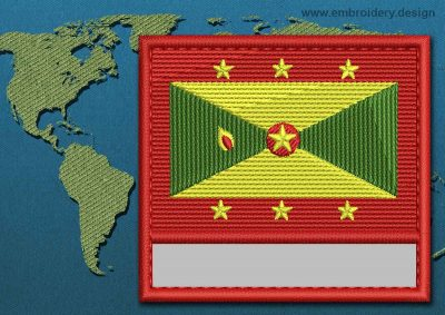 This Flag of Grenada Customizable Text  with a Colour Coded border design was digitized and embroidered by www.embroidery.design.