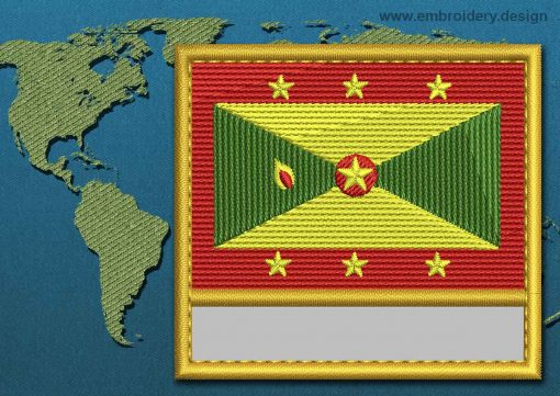 This Flag of Grenada Customizable Text  with a Gold border design was digitized and embroidered by www.embroidery.design.