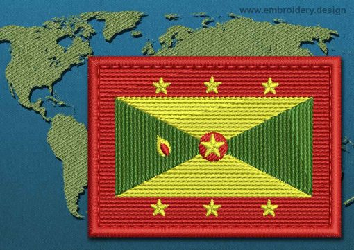 This Flag of Grenada Rectangle with a Colour Coded border design was digitized and embroidered by www.embroidery.design.