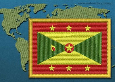 This Flag of Grenada Rectangle with a Gold border design was digitized and embroidered by www.embroidery.design.