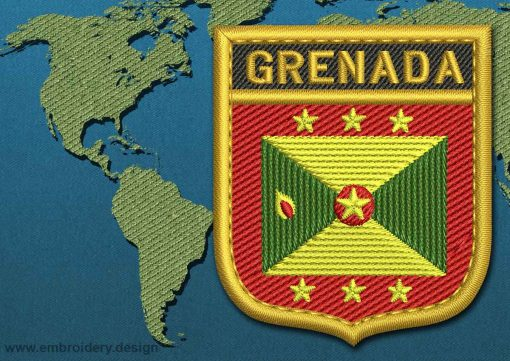 This Flag of Grenada Shield with a Gold border design was digitized and embroidered by www.embroidery.design.