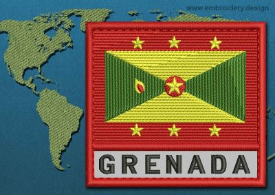 This Flag of Grenada Text with a Colour Coded border design was digitized and embroidered by www.embroidery.design.