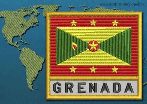 This Flag of Grenada Text with a Gold border design was digitized and embroidered by www.embroidery.design.