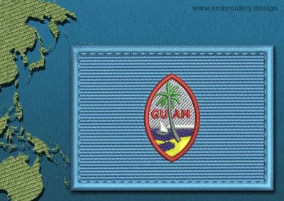 This Flag of Guam Rectangle with a Colour Coded border design was digitized and embroidered by www.embroidery.design.