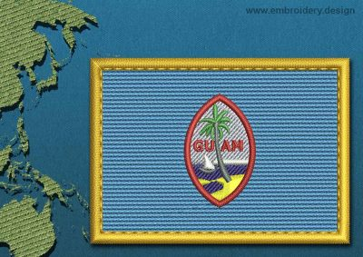 This Flag of Guam Rectangle with a Gold border design was digitized and embroidered by www.embroidery.design.