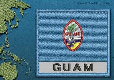 This Flag of Guam Text with a Colour Coded border design was digitized and embroidered by www.embroidery.design.