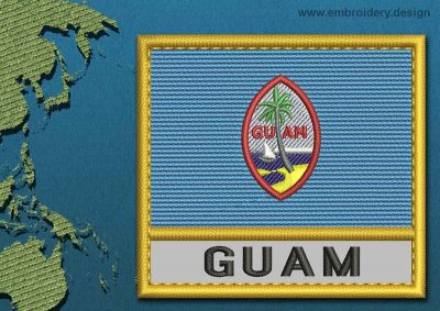 This Flag of Guam Text with a Gold border design was digitized and embroidered by www.embroidery.design.