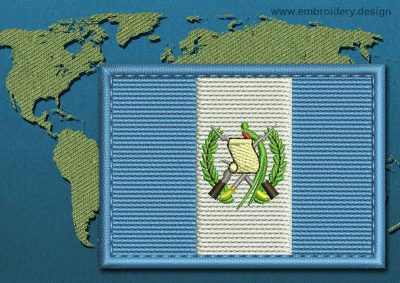This Flag of Guatemala Rectangle with a Colour Coded border design was digitized and embroidered by www.embroidery.design.