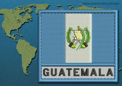This Flag of Guatemala Text with a Colour Coded border design was digitized and embroidered by www.embroidery.design.