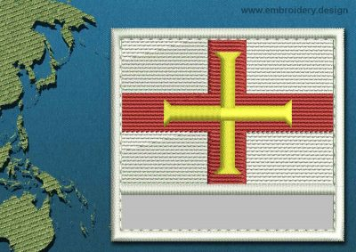 This Flag of Guernsey Customizable Text  with a Colour Coded border design was digitized and embroidered by www.embroidery.design.