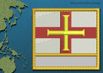 This Flag of Guernsey Customizable Text  with a Gold border design was digitized and embroidered by www.embroidery.design.