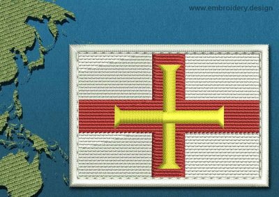 This Flag of Guernsey Rectangle with a Colour Coded border design was digitized and embroidered by www.embroidery.design.