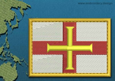 This Flag of Guernsey Rectangle with a Gold border design was digitized and embroidered by www.embroidery.design.