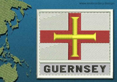 This Flag of Guernsey Text with a Colour Coded border design was digitized and embroidered by www.embroidery.design.