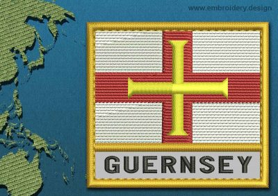 This Flag of Guernsey Text with a Gold border design was digitized and embroidered by www.embroidery.design.