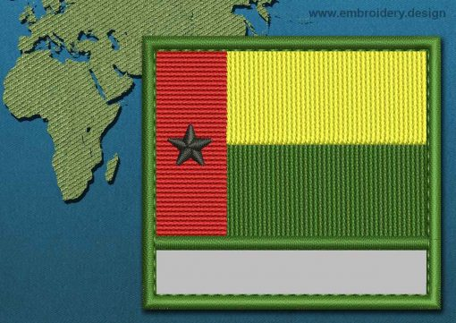 This Flag of Guinea-Bissau Customizable Text  with a Colour Coded border design was digitized and embroidered by www.embroidery.design.
