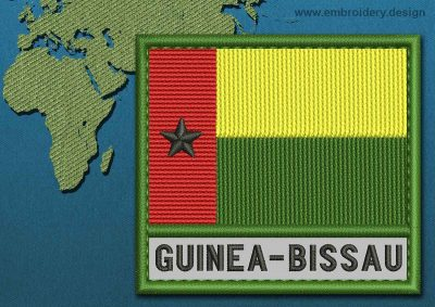 This Flag of Guinea-Bissau Text with a Colour Coded border design was digitized and embroidered by www.embroidery.design.