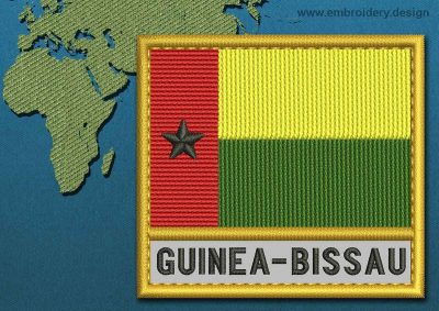 This Flag of Guinea-Bissau Text with a Gold border design was digitized and embroidered by www.embroidery.design.
