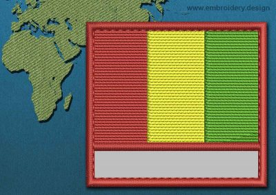 This Flag of Guinea Customizable Text  with a Colour Coded border design was digitized and embroidered by www.embroidery.design.