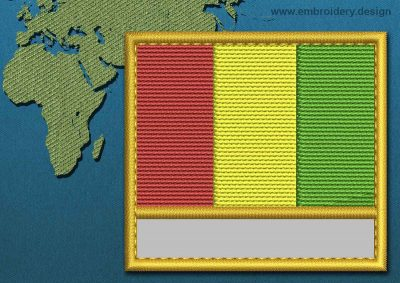 This Flag of Guinea Customizable Text  with a Gold border design was digitized and embroidered by www.embroidery.design.