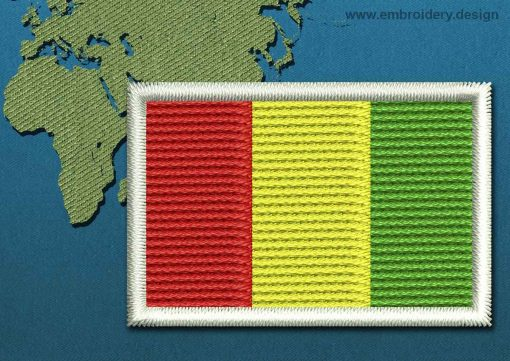 This Flag of Guinea Mini with a Colour Coded border design was digitized and embroidered by www.embroidery.design.