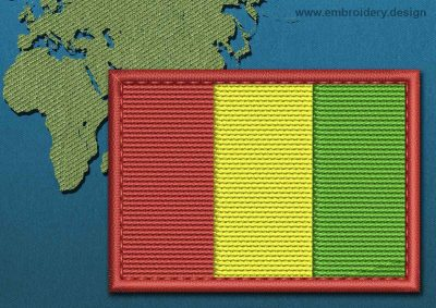 This Flag of Guinea Rectangle with a Colour Coded border design was digitized and embroidered by www.embroidery.design.