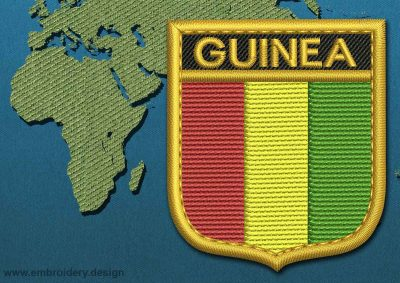 This Flag of Guinea Shield with a Gold border design was digitized and embroidered by www.embroidery.design.