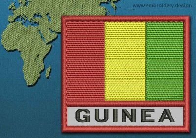 This Flag of Guinea Text with a Colour Coded border design was digitized and embroidered by www.embroidery.design.