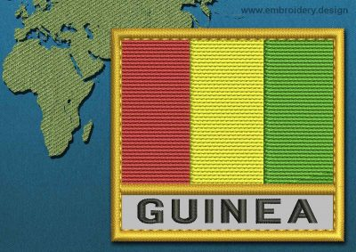 This Flag of Guinea Text with a Gold border design was digitized and embroidered by www.embroidery.design.