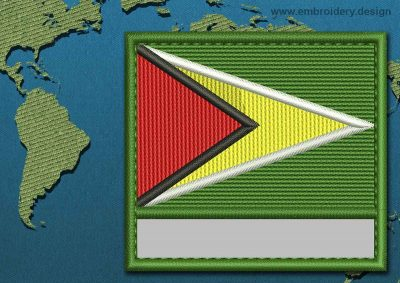 This Flag of Guyana Customizable Text  with a Colour Coded border design was digitized and embroidered by www.embroidery.design.