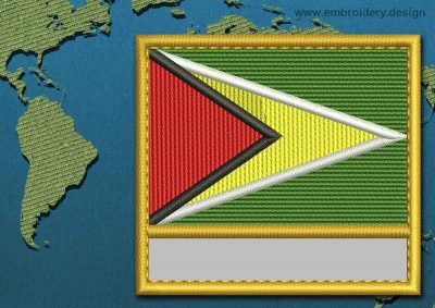 This Flag of Guyana Customizable Text  with a Gold border design was digitized and embroidered by www.embroidery.design.