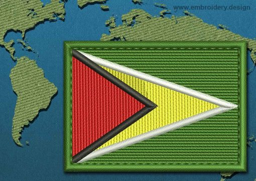 This Flag of Guyana Rectangle with a Colour Coded border design was digitized and embroidered by www.embroidery.design.