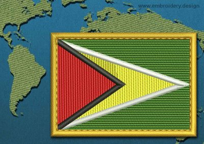 This Flag of Guyana Rectangle with a Gold border design was digitized and embroidered by www.embroidery.design.