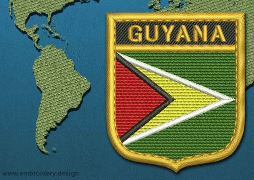 This Flag of Guyana Shield with a Gold border design was digitized and embroidered by www.embroidery.design.